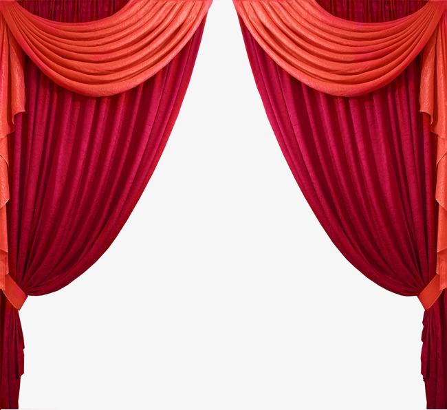 舞台红色_双色舞台红色布帘png素材-90设计