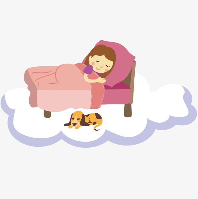 睡觉 动物  女孩  小狗  床             此素材是90设计网官方设计