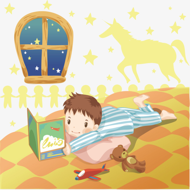趴在床上看书的男孩图片