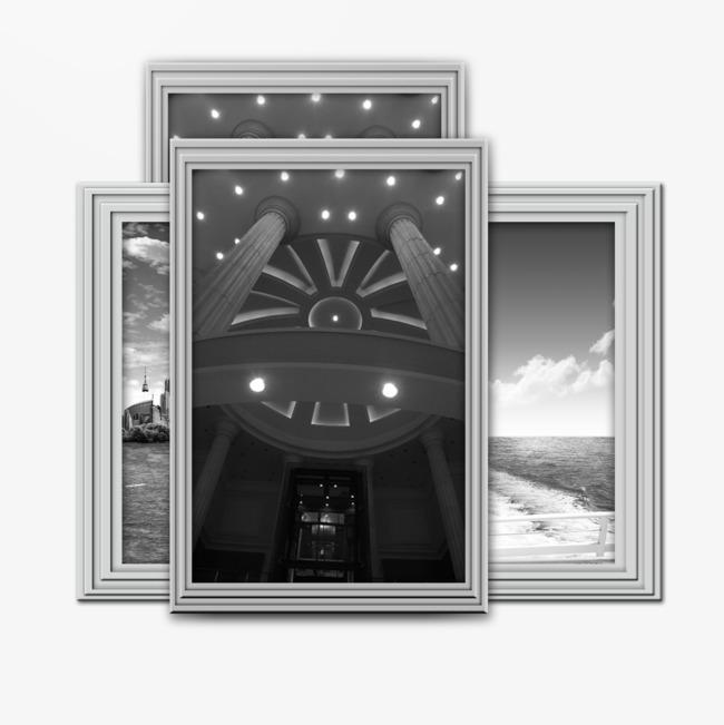 银色边框的相框png素材-90设计