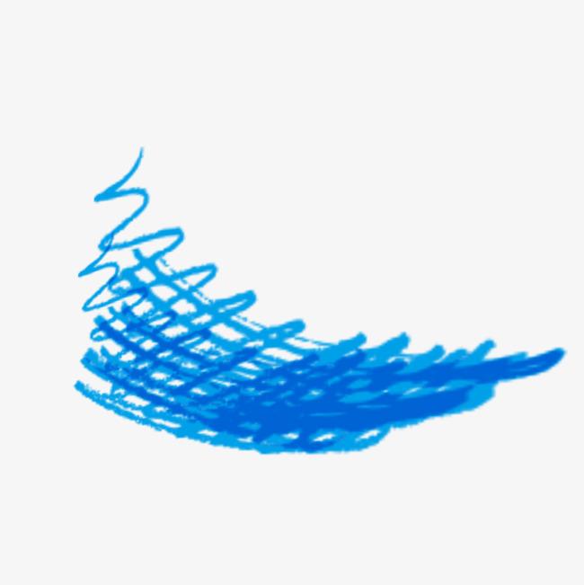 蓝色粉笔线条免抠图案png素材-90设计