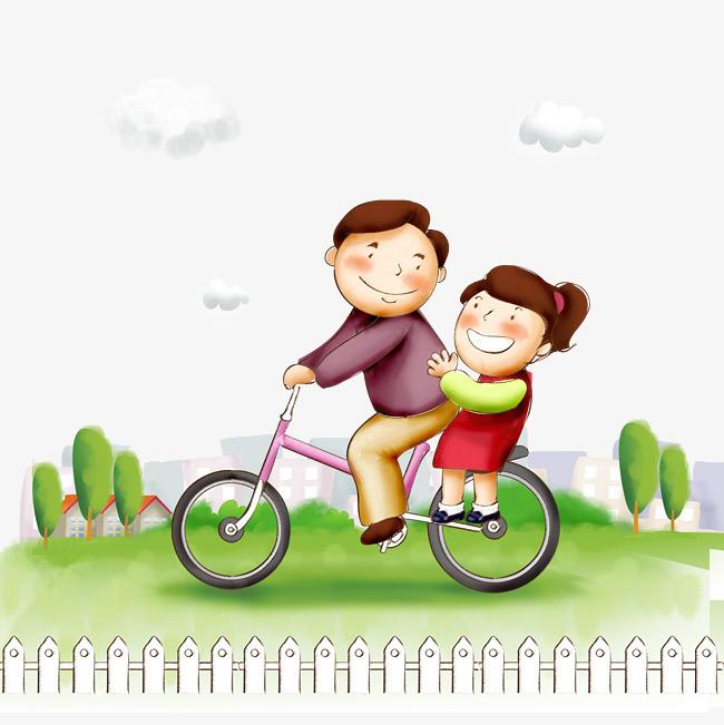 孩子 手绘 自行车 父亲 唯美             此素材是90设计网官方设计