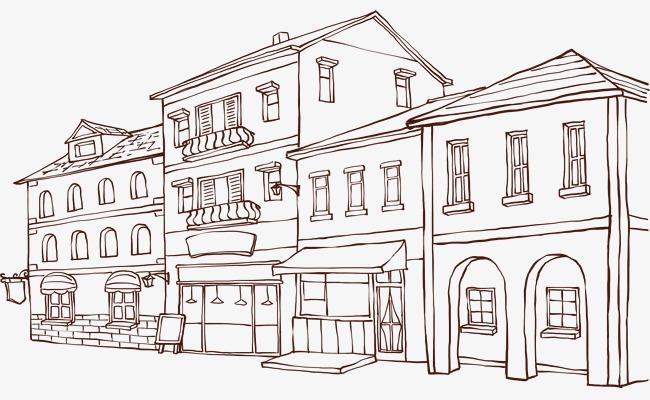 素描城市街景线稿图线条手绘都市建筑城市建筑高楼大厦商铺简笔画城图片