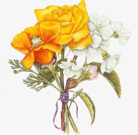 手绘装饰花束