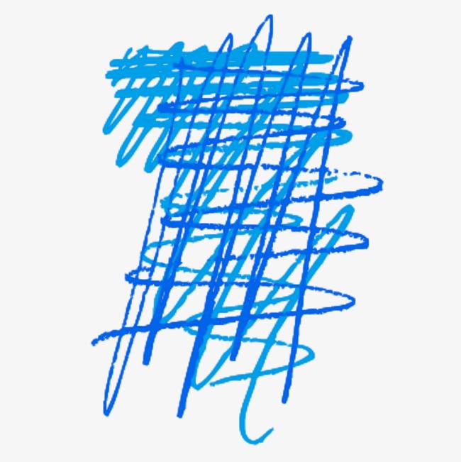 线条蓝色粉笔免抠图案png素材-90设计