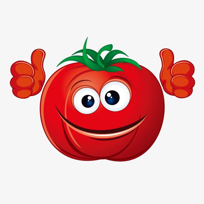 笑脸卡通红色西红柿【高清装饰元素png素材】-90设计