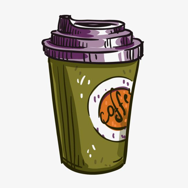 彩色手绘咖啡杯子