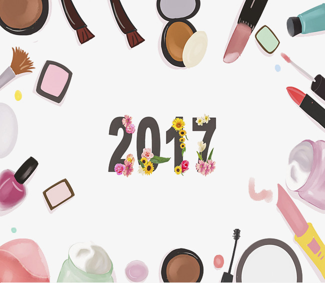 2017小清新手绘化妆品