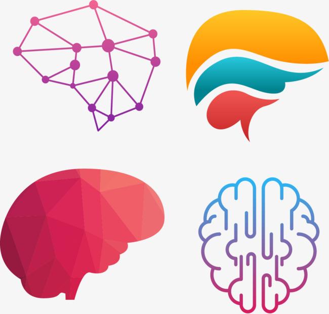 创意结构渐变色大脑