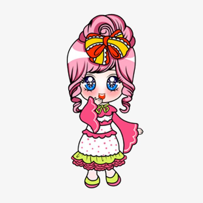 穿着洛丽塔装的可爱卡通娃娃