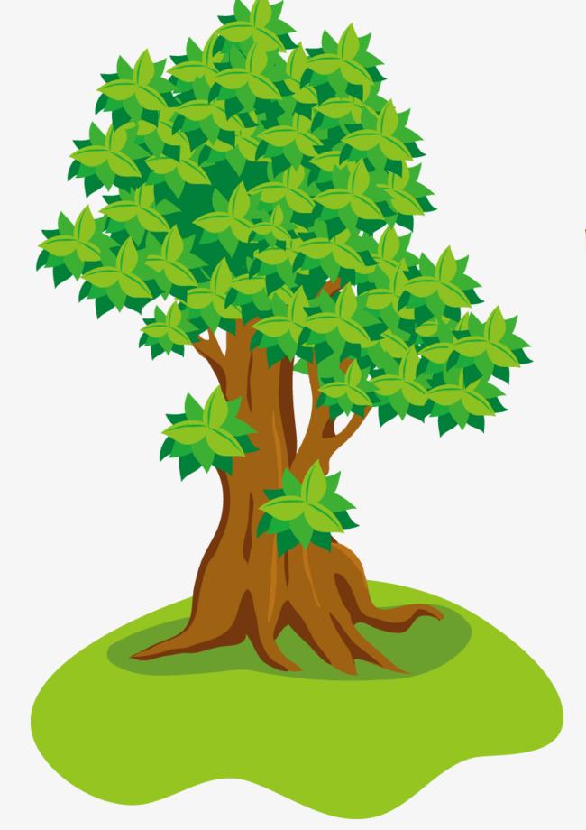 绿色手绘大树