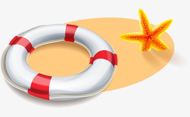 矢量手绘沙滩游泳圈png素材-90设计