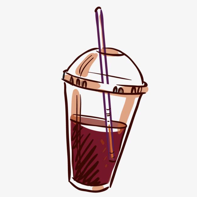 彩色手绘杯装可乐快餐