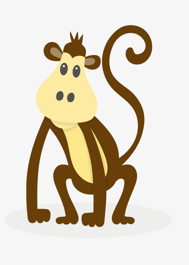 矢量棕色卡通可爱的小猴子图片
