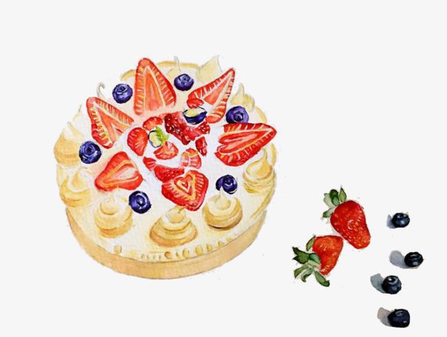 草莓蛋糕手绘素材