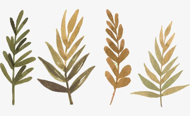水彩树叶喷画素材