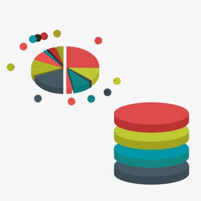 立体圆饼与圆柱ppt装饰图表png素材-90设计