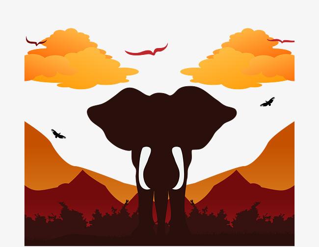 傍晚森林中的大象背景矢量图