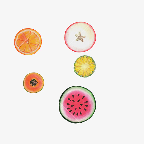 水果切片手绘画素材图片