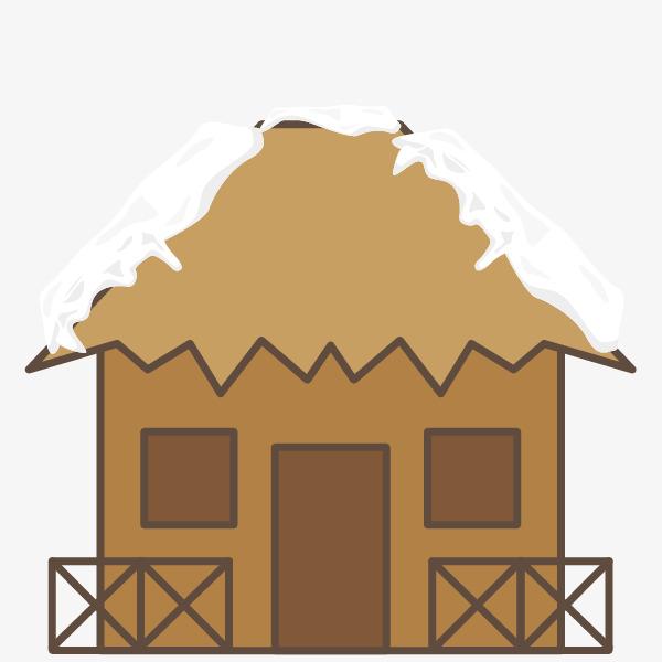 矢量木头房子屋顶积雪png素材-90设计