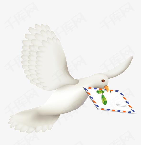 手绘鸽子送信手绘动物送信鸽子飞行动物