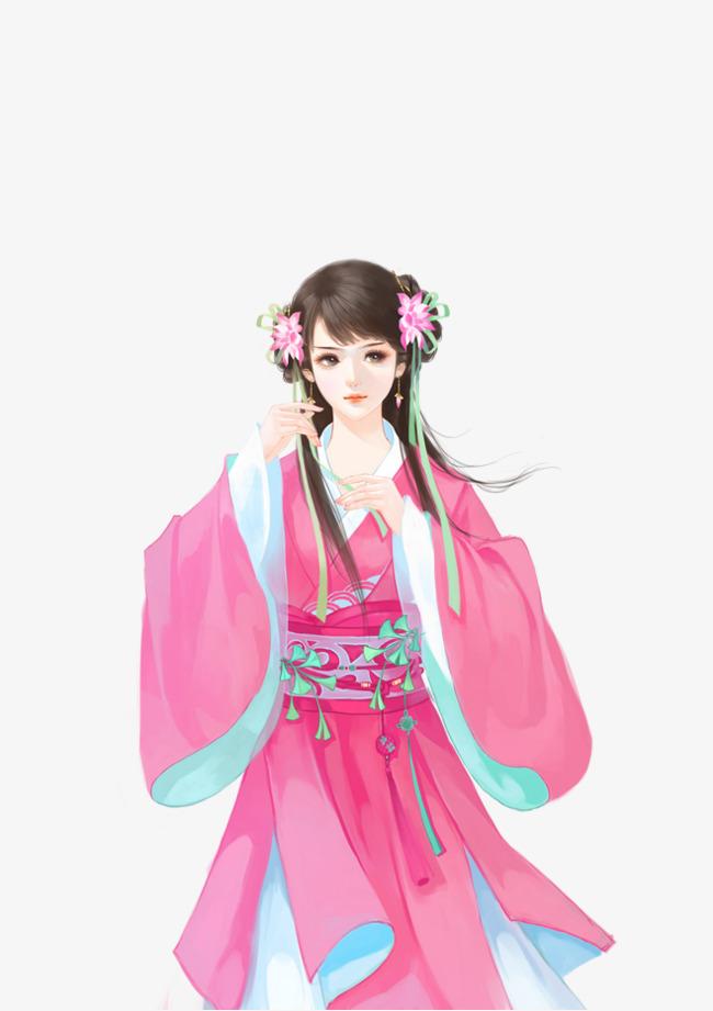 粉色古风美女手绘
