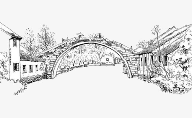 简单桥画手绘