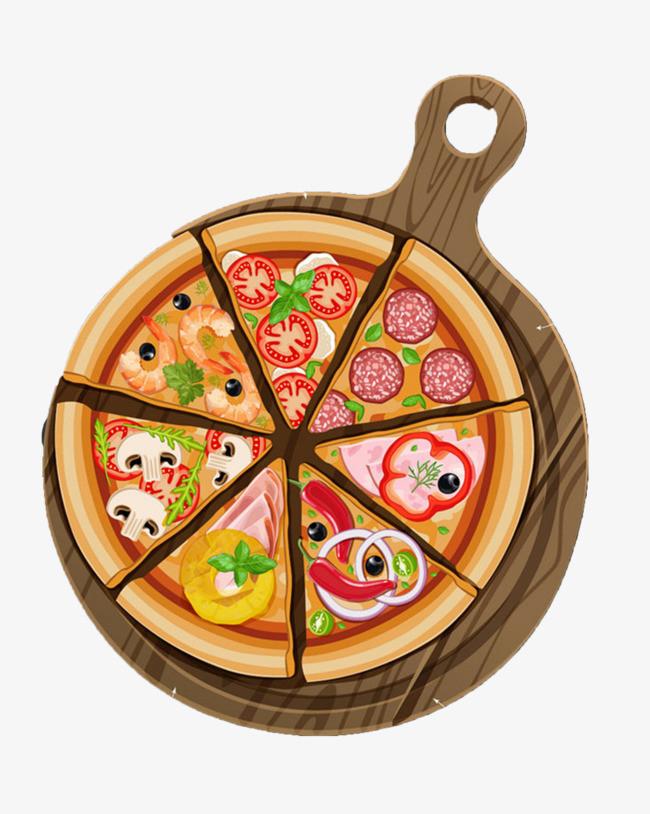 手绘插画披萨