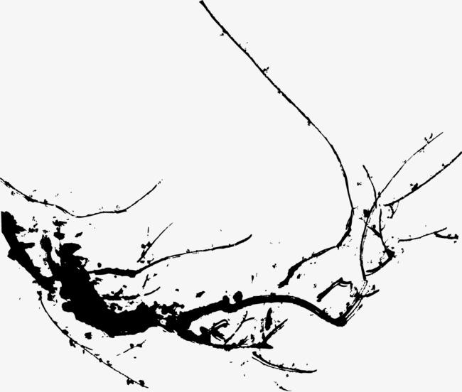 水墨创意雪梅花素材图片
