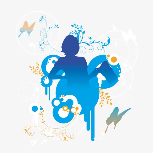 海报背景_蓝色女子跳舞背景图png素材-90设计图片