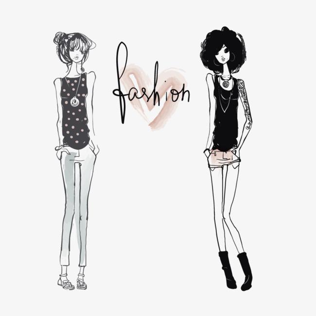 简约风手绘两个女孩
