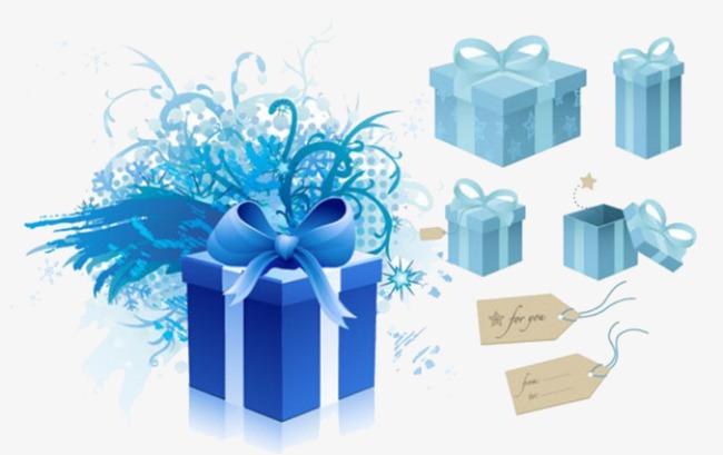 蓝色神秘大礼盒主题素材
