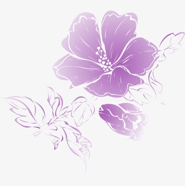紫色水彩花卉png素材-90设计