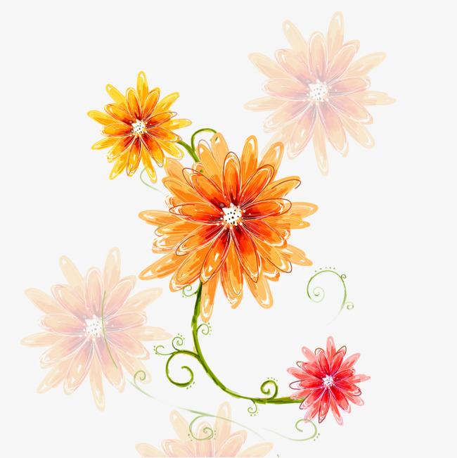 黄色花朵的蜡笔画