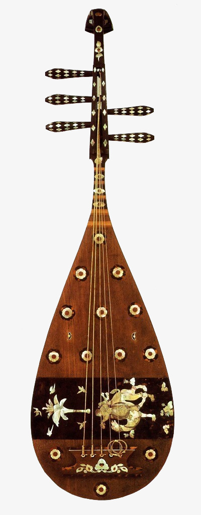 中式古典乐器琵琶【高清产品实物png素材】-90设计