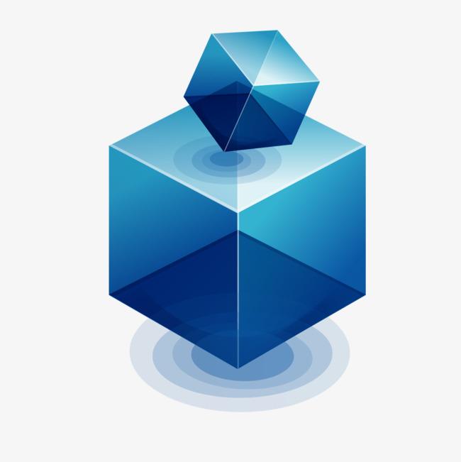 点击右侧免费下载按钮可进行 蓝色立体形状png图片素材高速下载.
