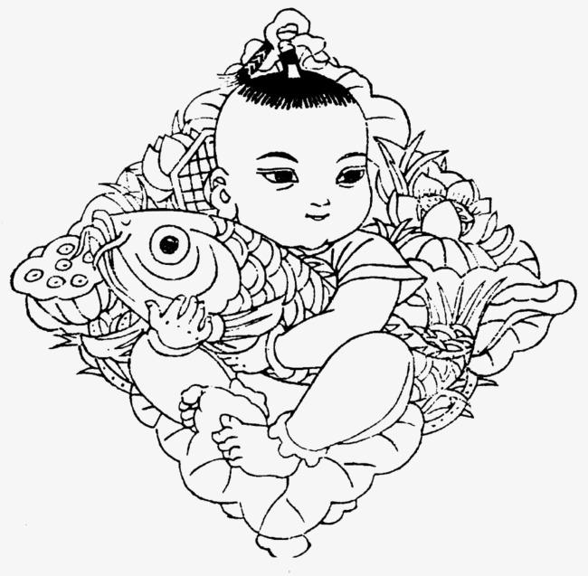 中国年画娃娃抱鱼