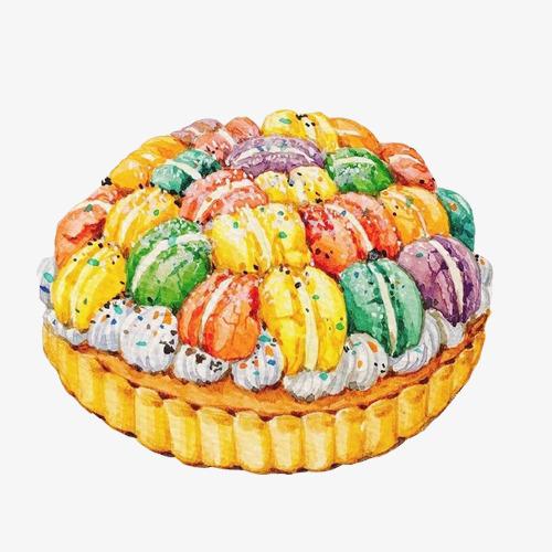 马卡龙蛋糕手绘画素材图片
