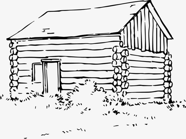 手绘画木屋房子