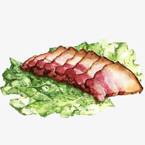 烤五花肉手绘画素材图片