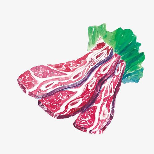 雪花牛肉手绘画素材图片