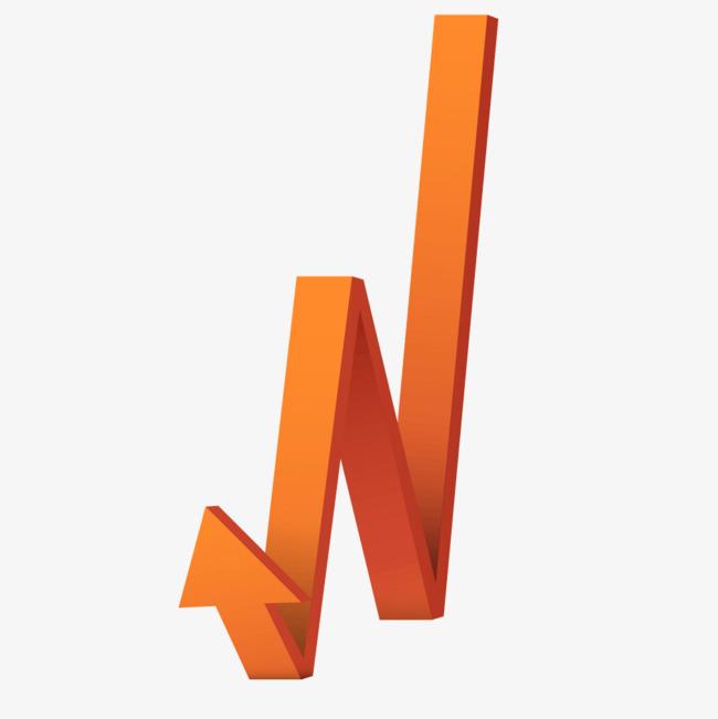 橘黄色立体渐变箭头png素材-90设计