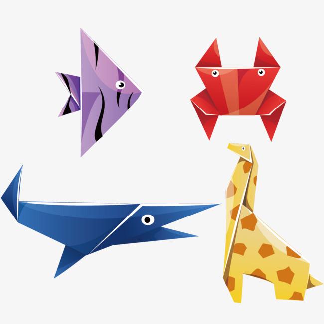 卡通各种动物折纸矢量