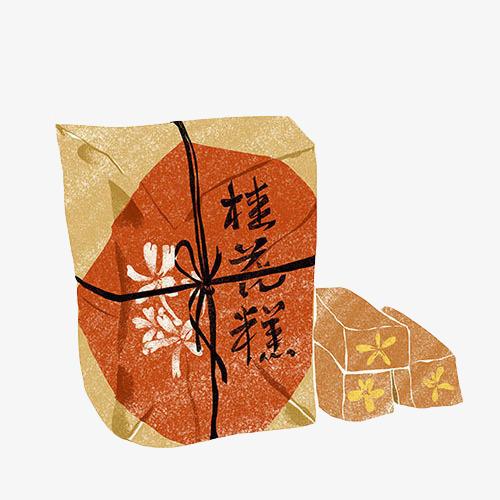 桂花糕手绘画素材图片