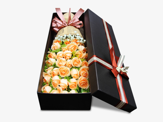 黄玫瑰鲜花礼盒素材图片图片