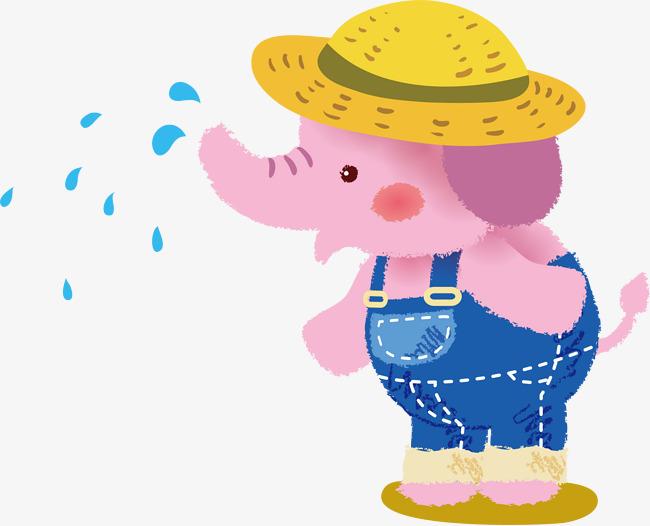 汗流浃背的大象矢量图图片