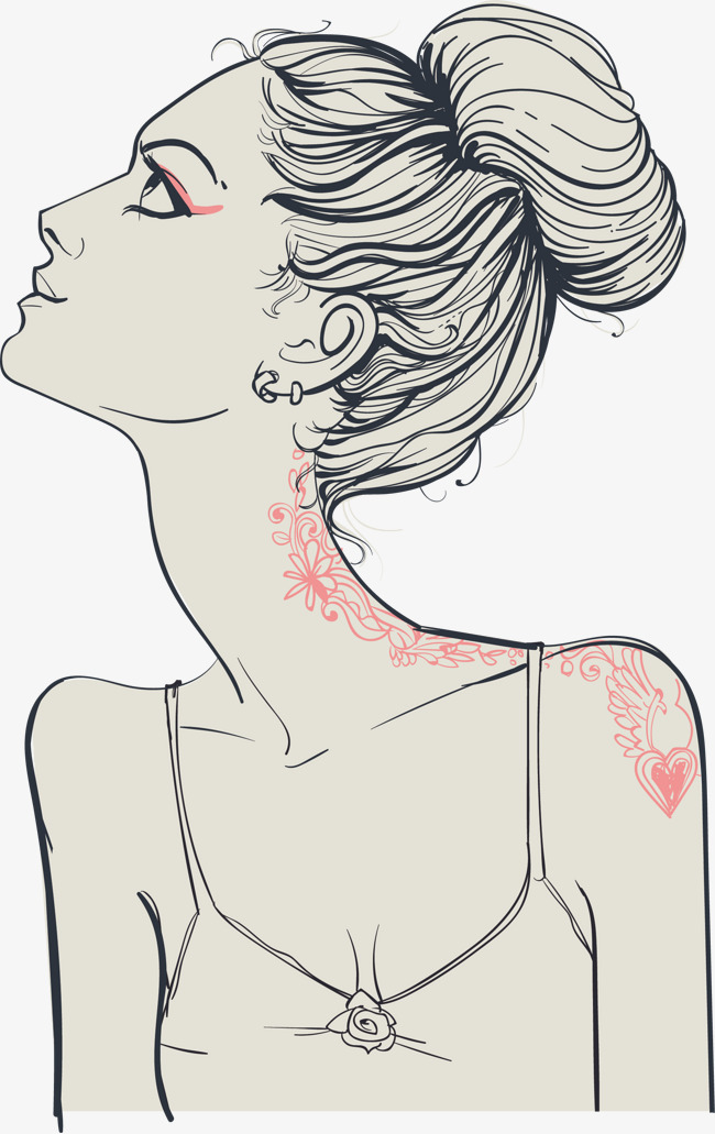 矢量手绘线条美女