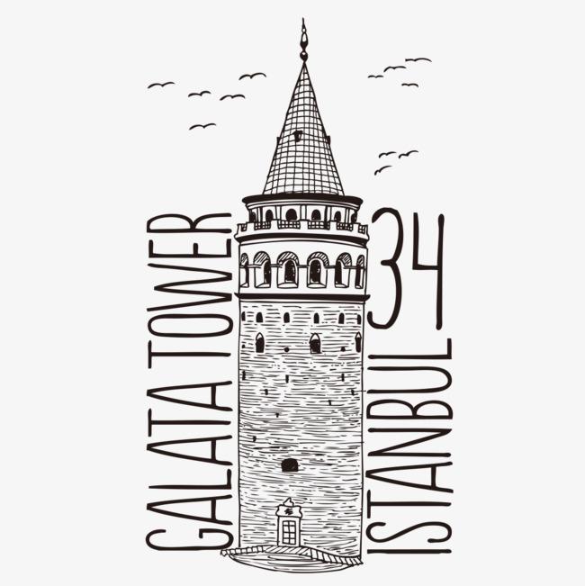 城堡手绘t恤图案