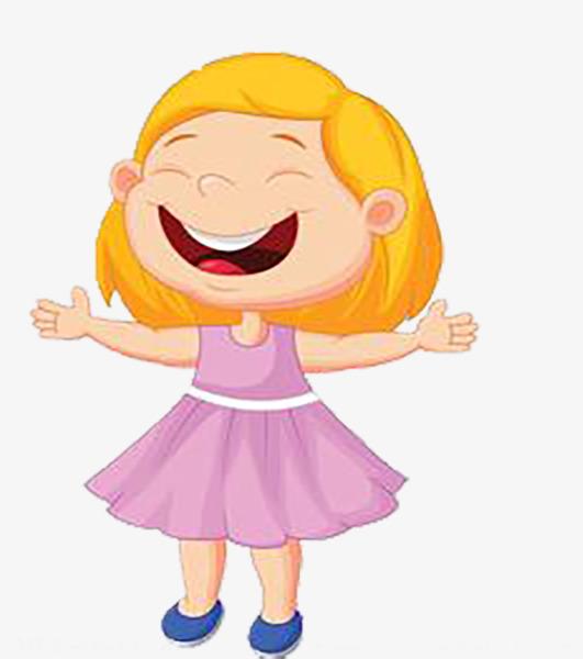 开心大笑黄色短发卡通小女孩