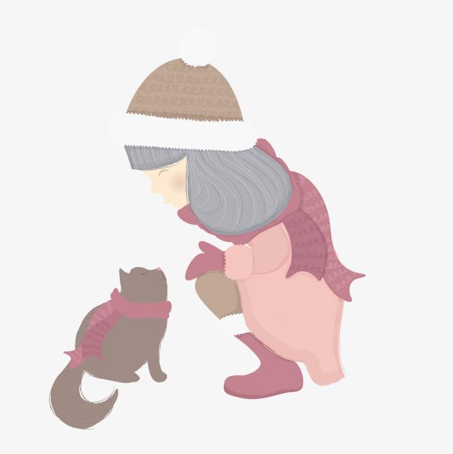 可爱小女孩和猫咪